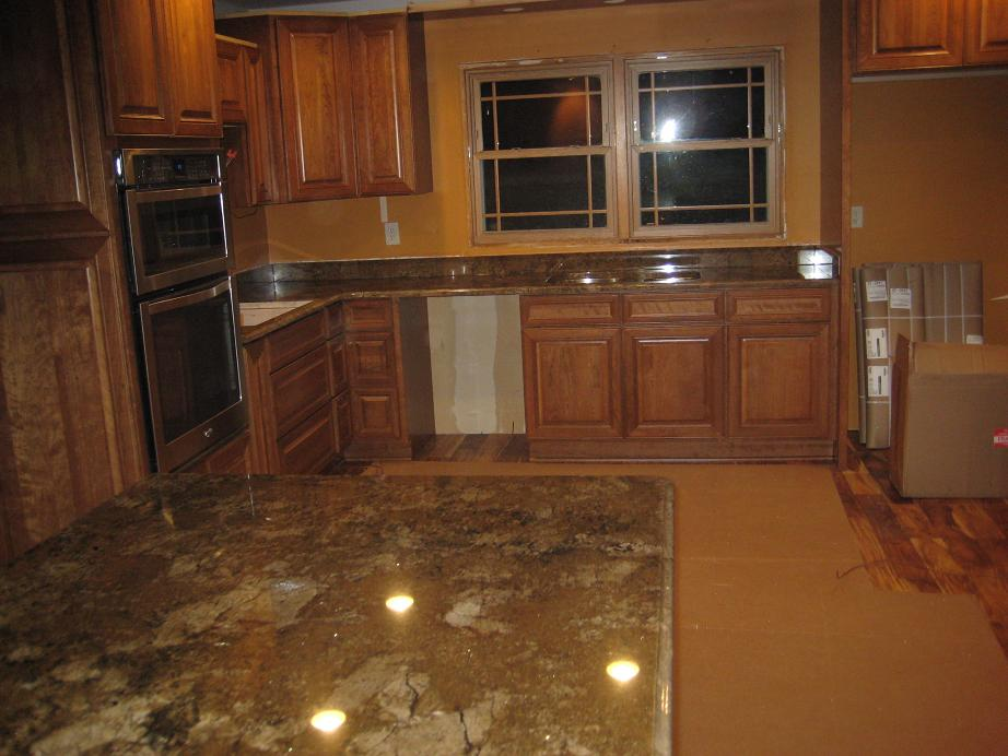Custom Granite Marigold Countertop With Ogee & Beveled Edge | Caledonia, WI